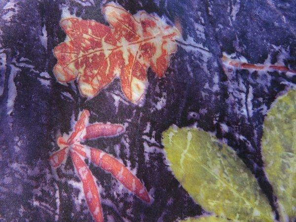 Purple silk with leaves The Print Mine