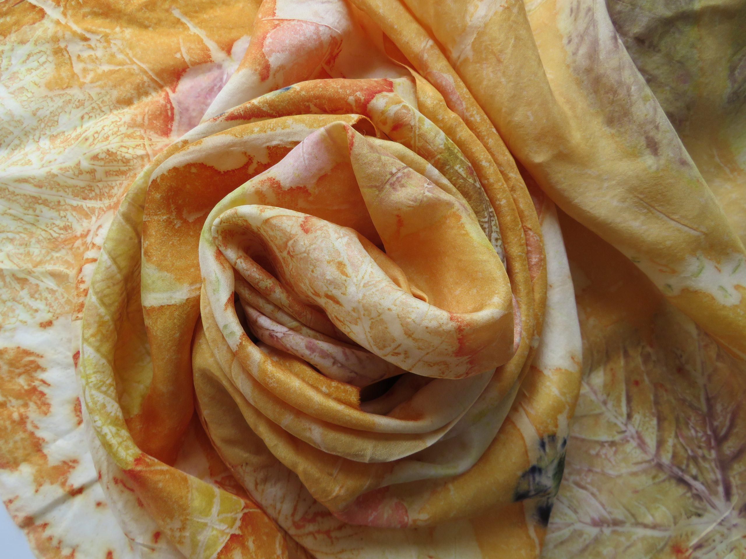 Luxurious textiles silk eco-printed