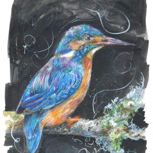 Kingfisher Painting, Peace and Prosperity, Giclee Print, Watercolour, coloured pencil, artwork