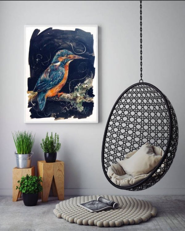 Kingfisher Painting hung on wall, Peace and Prosperity, Giclee Print, Watercolour, coloured pencil, artwork