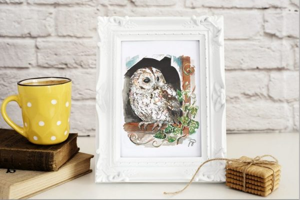 Wise Owl Painting Giclee Print Framed