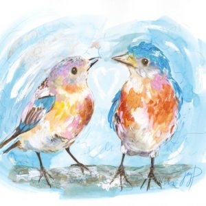 Happy Bluebirds Watercolour Artwork