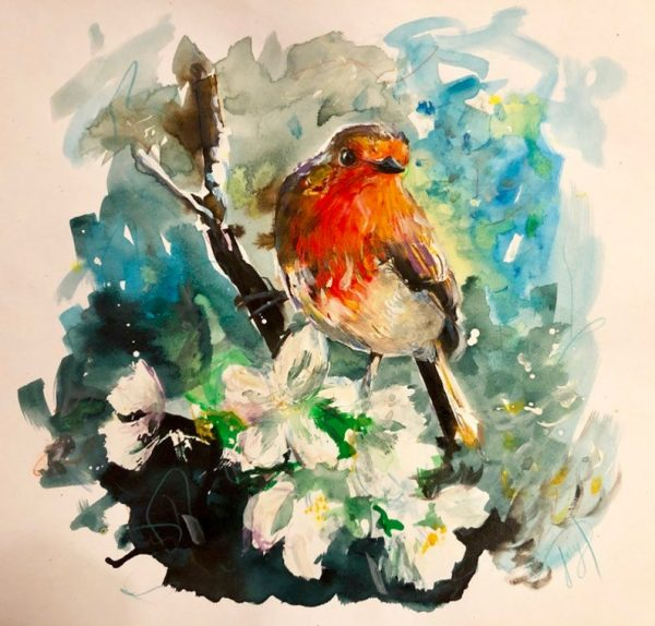 """Robin Painting """"The Look Out"""" Giclee Print"""